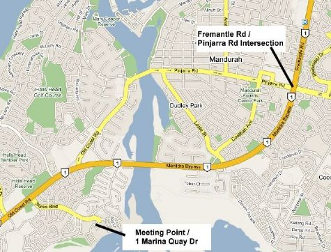 Map to Ron's Mandurah Breakfast Run